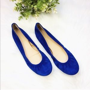 NWOT J. Crew Royal Blue Leather Suede Round Flats